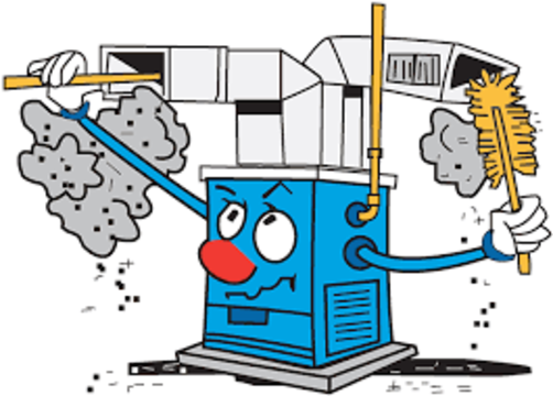 cartoon of furnace cleaning